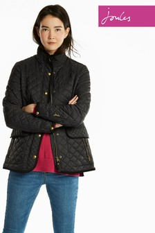 Joules Black Quilted Newdale Coat