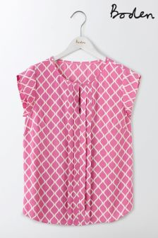 Boden Lavendar Rose Geo Pleat Front Top