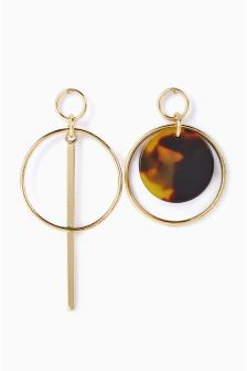 Mismatch Circle Tortoiseshell Effect Earrings
