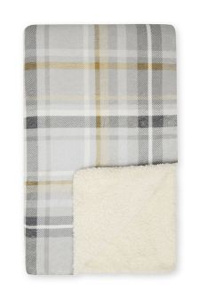 Ochre Check Print Fleece Throw