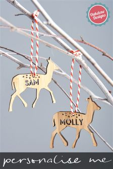 Personalised Child Reindeer Christmas Tree Decoration By Oakdene