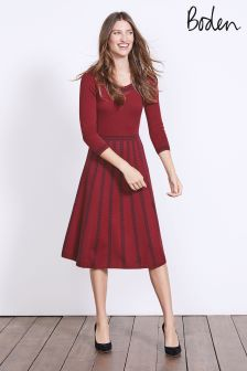 Boden Wine/Navy Placement Jacquard Brooke Floral Dress