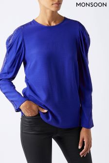 Monsoon Cobalt Cobie Lace Sleeve Top