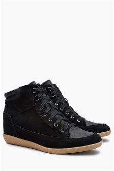 Suede Wedge High Top Trainers