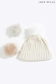Jack Wills Ecru Detachable Faux Fur Pom Pom Hat