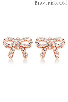 Beaverbrooks Silver Rose Gold Bow Earrings