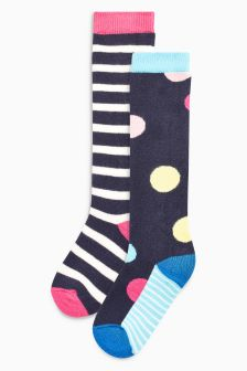 Spot And Stripe Welly Socks Two Pack (Younger Girls)