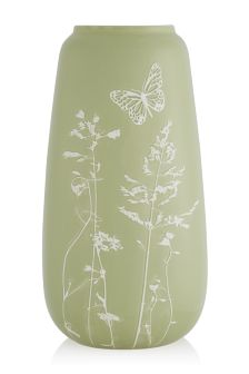 Large Ceramic Vase With Botanical Motif