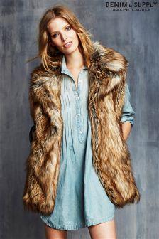 Ralph Lauren Denim And Supply Brown Fur Gilet