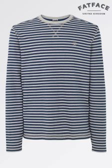 Fat Face Grey Marl Long Sleeve Midweight Stripe Crew
