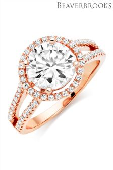 Beaverbrooks Silver Rose Gold Plated Cubic Zirconia Ring