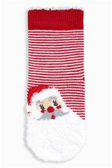 Fluffy Santa Socks One Pack (Younger Girls)