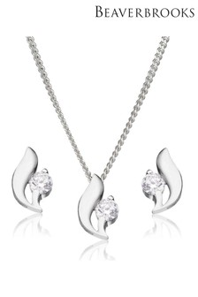 Beaverbrooks Silver Cubic Zirconia Pendant and Stud Earring Set