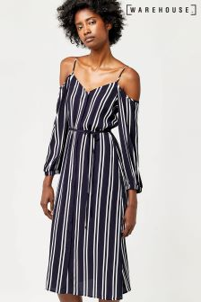 Warehouse Blue Stripe Cold Shoulder Dress