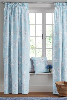 Cotton Rich Delicate Blue Floral Pencil Pleat Curtains
