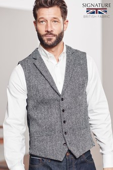 Signature Harris Tweed Herringbone Waistcoat