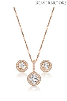 Beaverbrooks Silver Rose Gold Cubic Zirconia Pendant And Stud Earring Set