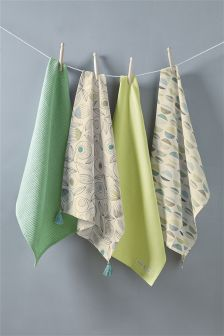 Set Of 4 Blake Floral Tea Towels