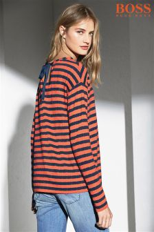 Boss Orange Orange/Navy Stripe Top