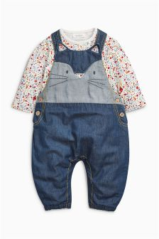 Cat Dungarees And Bodysuit Set (0mths-2yrs)