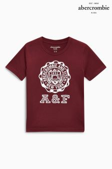 Abercrombie & Fitch Burgundy Crest Logo T-Shirt