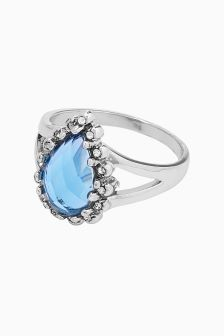 Platinum Plated Blue Stone Ring