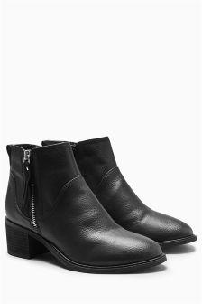Zip Block Heel Ankle Boots