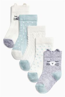 Cat Character Socks Five Pack (Younger Girls)