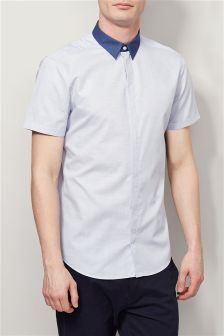 Dot Contrast Collar Shirt