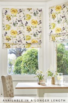 Ochre Watercolour Flourish Print Roman Blind