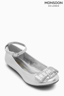 Monsoon Silver Sparkle Gem Bow Ballerina