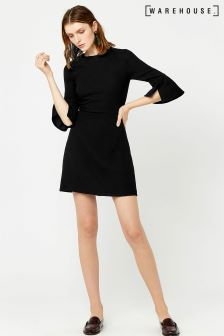 Warehouse Black Flute Sleeve Dress