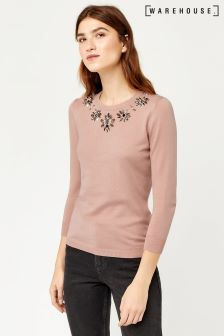 Warehouse Pink Embellished Statement Neck Jumper