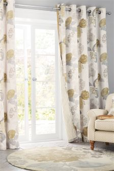 Natural Flourish Print Eyelet Curtains