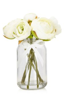 Large Cream Ranunculus Jar