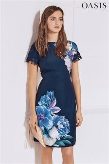 Oasis Navy Georgia Placement Shift Dress