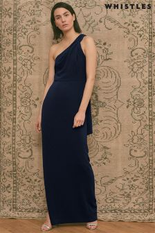 Whistles Navy Bethan One Shoulder Maxi Dress