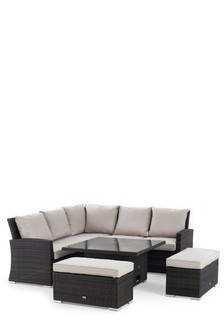 Monaco Brown Slim Living And Dining Table Garden Set
