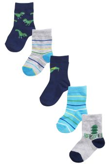 Dinosaur Socks Five Pack (Younger Boys)