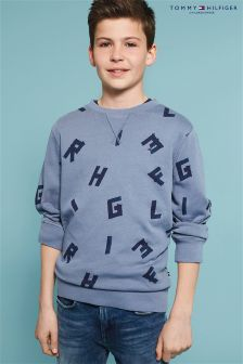Tommy Hilfiger Blue All Over Letter Sweater