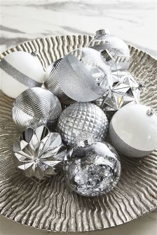 Set Of 12 Large Silver Baubles