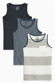 Blue Textured Vests Three Pack (3-16yrs)
