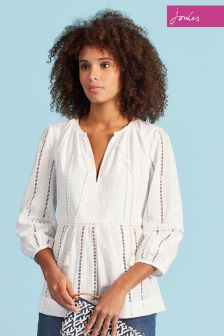Joules Bright White Daria Woven Top