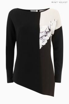 Mint Velvet Black Petra Print Asymmetric Knitted Top