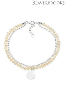 Beaverbrooks Silver Freshwater Cultured Pearl Disc Charm Bracelet