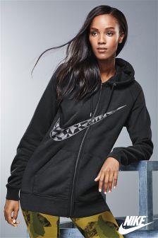 Nike Black Longline Swoosh Hoody