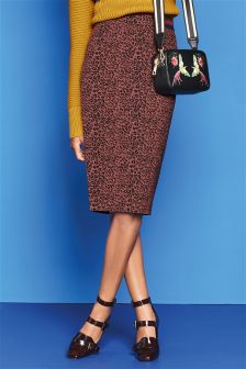 Animal Print Jacquard Pencil Skirt