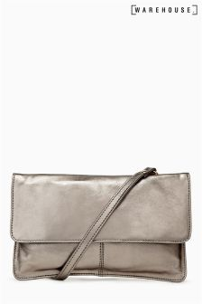 Warehouse Metallic Leather Cross Body Bag