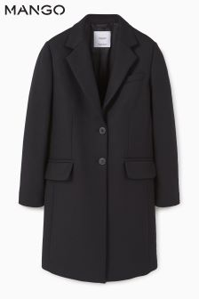 Mango Black Car Coat