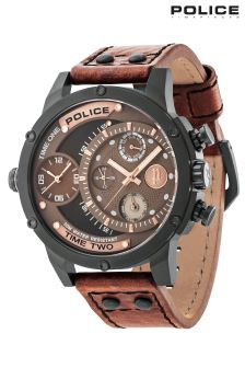 Police Brown Leather Strap Watch